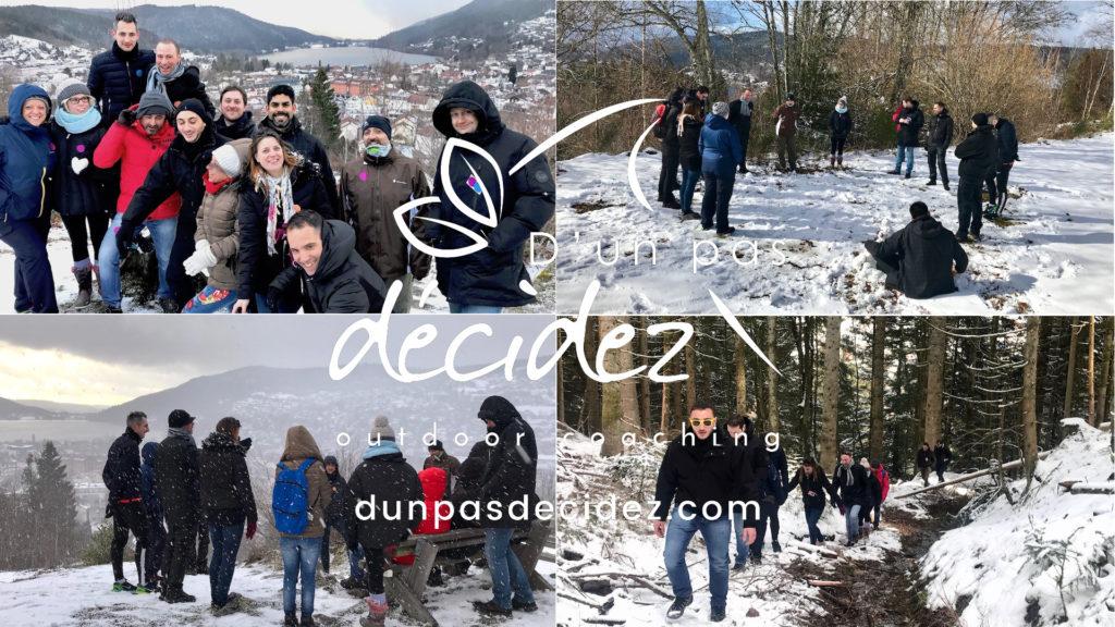 Une équipe AG2R LA MONDIALE revient après un an pour bénéficier d'un accompagnement outdoor business coaching avec D'un pas Décidez